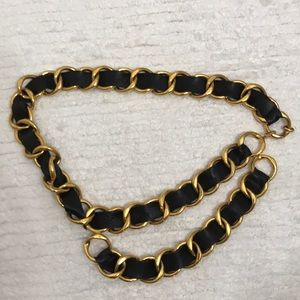Chanel gold and leather belt